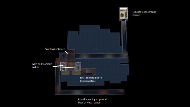 The floorplan of the first level of basement